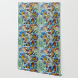 Abstract Flowers Blue Watercolor Wallpaper