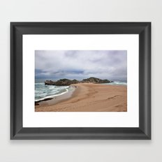 Cloudy Beach Framed Art Print