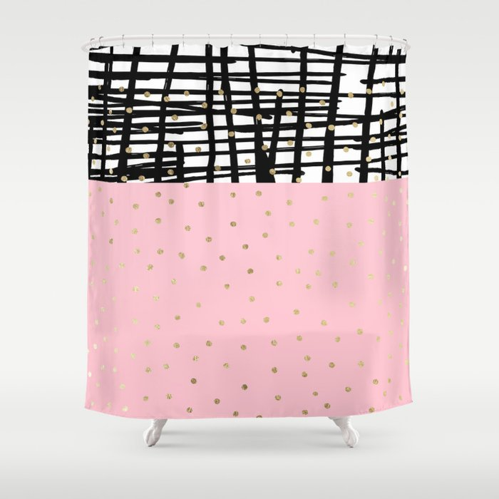 Modern geometrical black pink faux gold polka dots Shower Curtain by ...