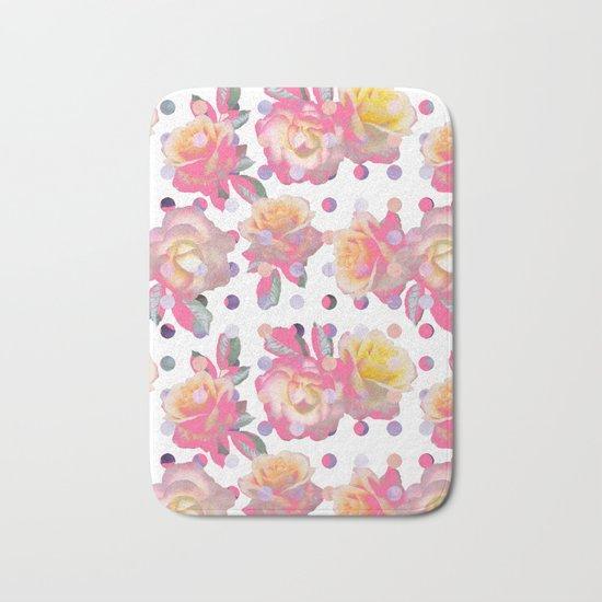 Sweet Pink Rose Garden Bath Mat