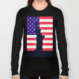 Patriotic American Flag Long Sleeve T-shirt