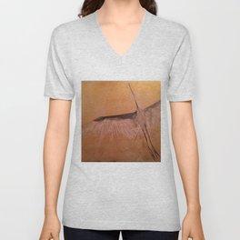 Wood Crane gold sky painting on wood Unisex V-Neck