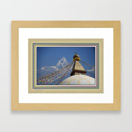 BOUDHANATH AND MACHAPUCHARE NEPAL COMPOSITE Framed Art Print