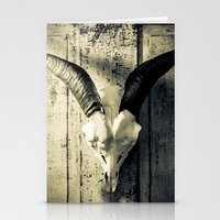animal skull Stationery Cards featuring Animal Skull I (Duotone) by Digital.Soapbox