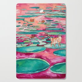 Ginger Cat amongst the Lily Pads on a Pink Lake Cutting Board