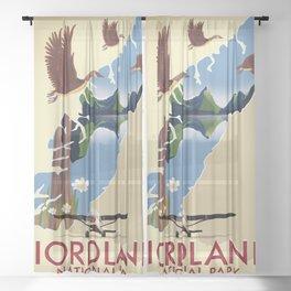 Fiordland National Park New Zealand travel poster Sheer Curtain