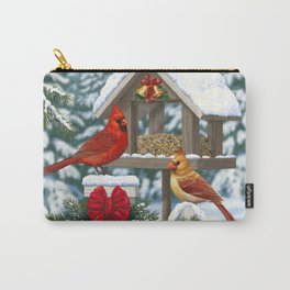 Red Cardinals and Christmas Bird Feeder Carry-All Pouch