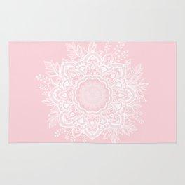 Mandala Bohemian Summer Blush Millennial Pink Floral illustration Rug
