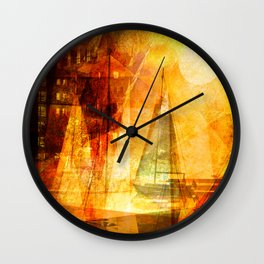 Coming home to harbour Wall Clock