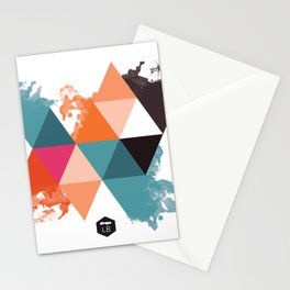 colored triangles - 3 Stationery Cards