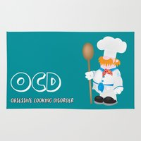 cooking Area & Throw Rugs featuring OCD Obsessive cooking disorder by mangulica illustrations