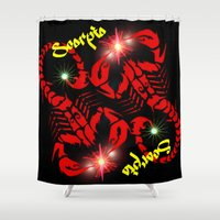 astrology Shower Curtains featuring Scorpio Astrology Sign by TrinityHawk Photography & Multimedia
