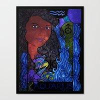 aquarius Canvas Prints featuring Aquarius by Laura Jean