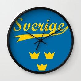 Sweden, Sverige, vintage poster Wall Clock