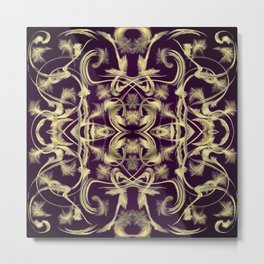 dark purple Digital pattern with circles and fractals artfully colored design for house and fashion Metal Print