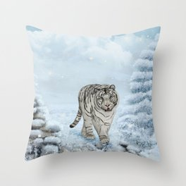 Wonderful white siberian tiger in a winter landscape Throw Pillow