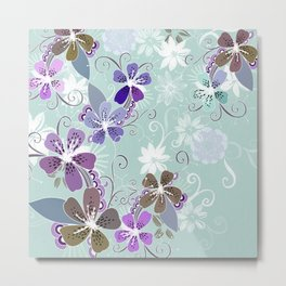 Summer blossom, blue and purple Metal Print