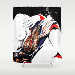 Woman wears a traditional kimono, Naked Body, Fashion illusration, Bueaty Portrait Shower Curtain