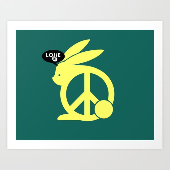 Love, Peace, Rabbit Art Print