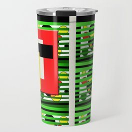 Hand drawing digital, bright primary colors, freestyle pattern Travel Mug