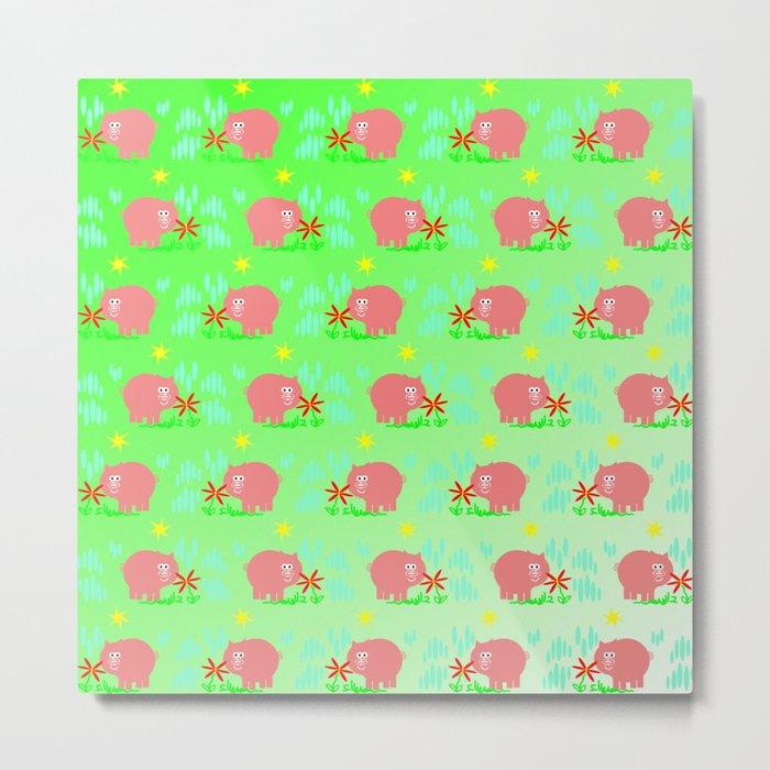 Pigs in clover Metal Print