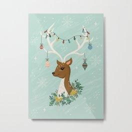 Vintage Inspired Deer with Decorations Metal Print