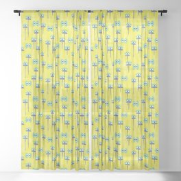 Evil Eye Nazar protective Garden Yellow Sheer Curtain