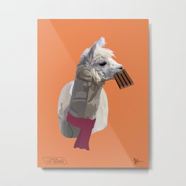 Scarf Llama Metal Print