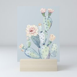 Prettiest Rose Cactus Blue Mini Art Print