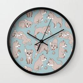 puppies playing ball Wall Clock