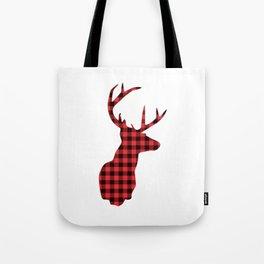 Red and Black Plaid Deer Head Tote Bag