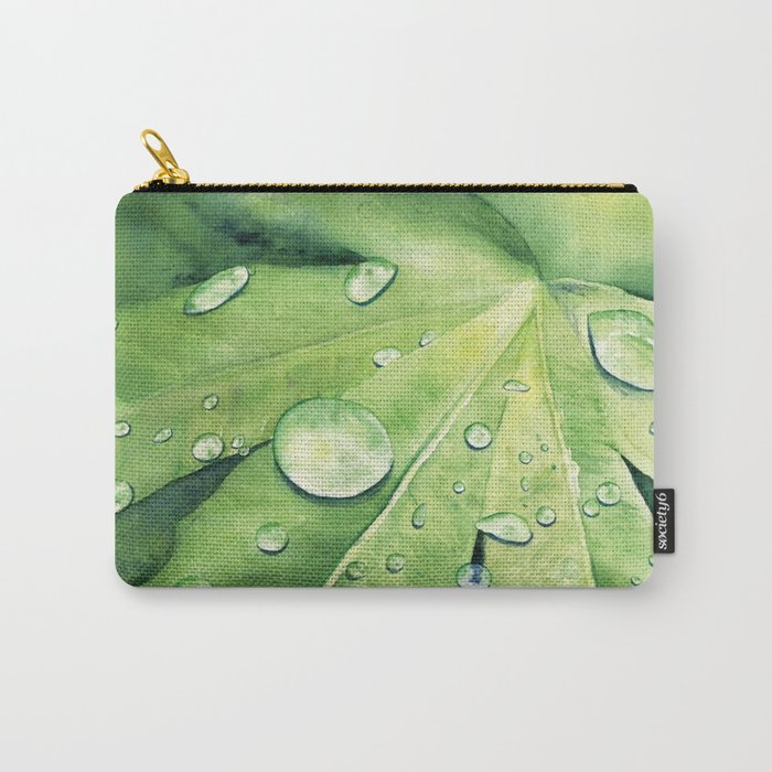 ee8edf37658a The Water drops meets the Leaf - Art Watercolor Painting print by Suisai  Genki Carry-All Pouch by suisaigenki