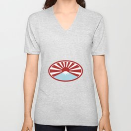 Rising Sun With Snow Capped Mountain Icon Unisex V-Neck