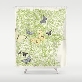 Butterflies in the bee loud glade Shower Curtain