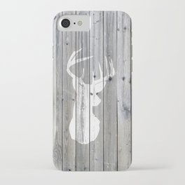 Hipster vintage white deer head on gray wood iPhone Case