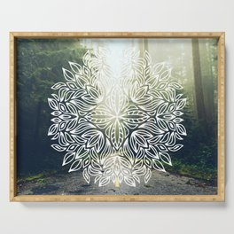 Mandala Forest Fog Road Serving Tray