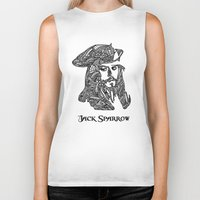 jack sparrow Biker Tanks featuring Captain Jack Sparrow by christoph_loves_drawing