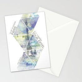 Paris EIFFEL TOWER COORDINATES | jazzy watercolor Stationery Cards