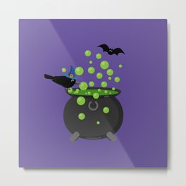Halloween: Crow Looking into a Bubbling Cauldron Metal Print