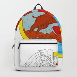 American Bully Dog Fighting Satan Drawing Backpack