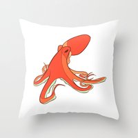 octopus Throw Pillows featuring Octopus by Jemma Salume