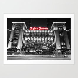 St Louis Baseball Stadium - Cardinals Third Base Gate In Selective Color Art Print