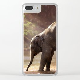 Baby Elephant & Mama at Watering Hole Clear iPhone Case