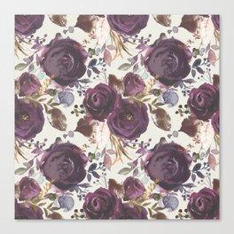 Pastel burgundy violet pink watercolor roses floral Canvas Print