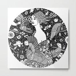 Lady with fan. Klimt Metal Print