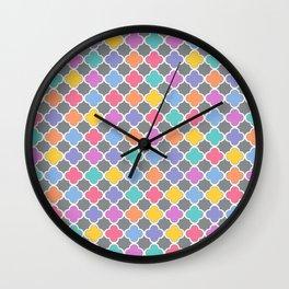 Rainbow & Gray Quatrefoil Wall Clock