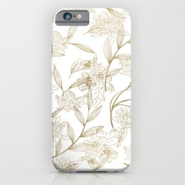 Elegant white gold modern trendy floral iPhone Case