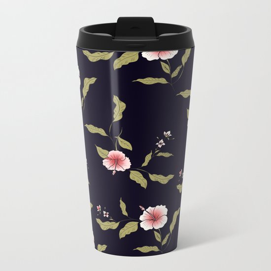 Pink Tropical Flowers #society6 #decor #buyart Metal Travel Mug