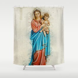 Virgin Mary And Jesus Shower Curtain