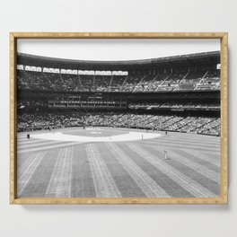 Safeco Field in Seattle Washington - Mariners baseball stadium in black and white Serving Tray